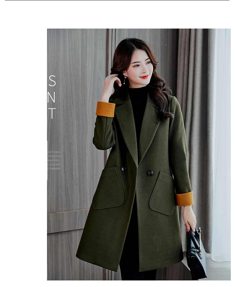Fashion coat female Autumn winter clothing New women's cashmere coat Large size Long sleeve Woolen coat Elegant women coat 660