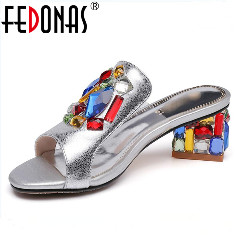 FEDONAS Women Fashion 2018 Sexy Summer Shoes Woman High Heel Comfort Casual Slippers Females Hot Sale Sandals Women