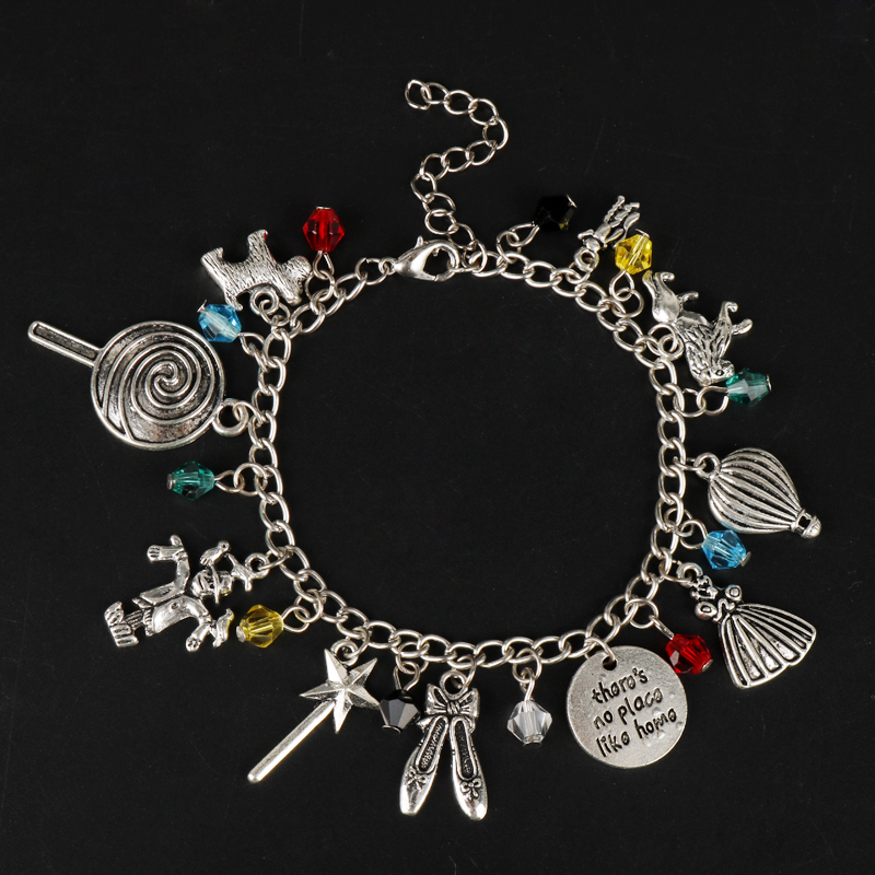 MQCHUN The Wizard of Oz Classic Movie Themed Silvertone Metal Charm Bracelets Bangles Fo ...