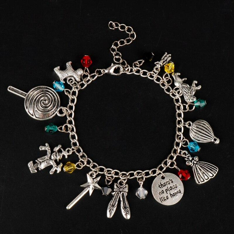 MQCHUN The Wizard of Oz Classic Movie Themed Silvertone Metal Charm Bracelets Bangles For Women Jewelry