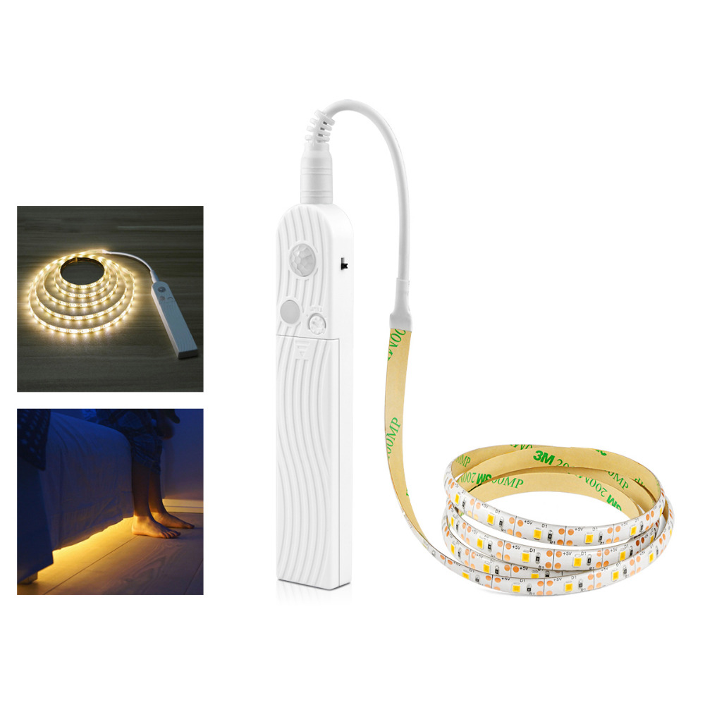 1m 2m 3m Wireless PIR Motion Sensor LED Bed Closet Night light 5V 2835 LED Strip AAA Battery Power Flexiable lamp Illumination-in Night Lights from Lights & Lighting