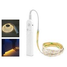 Fita led com sensor de movimento sem fio, 1m, 2m e 3m, para cama e armário, luz noturna, 5v e 2835 leds lâmpada flexível de potência aaa