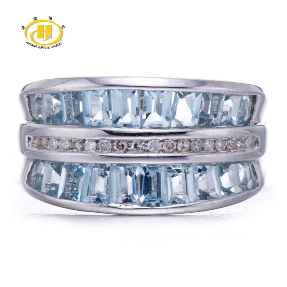 Hutang Stone Jewelry Natural Aquamarine Gemstone & Diamond Accents Solid 925 Sterling Silver Rings For Women Luxury Fine Jewelry