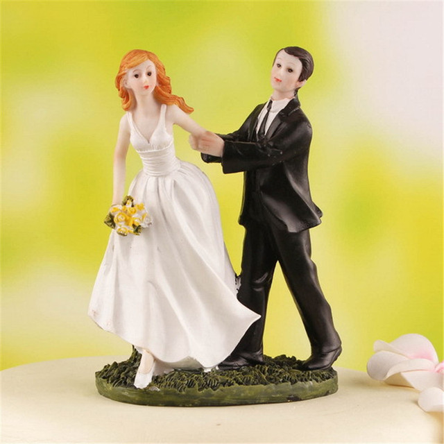 Cake Toppers Dolls Bride and Groom Figurines Funny Wedding Cake ...
