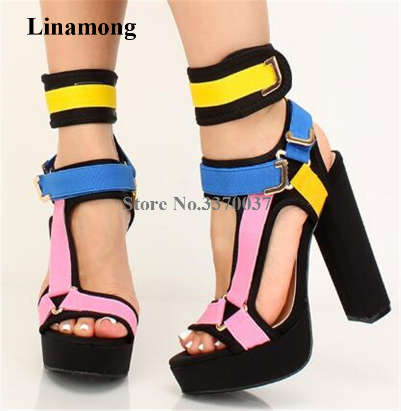 New Women/'s Colorful Open Toe Buckle Strappy Platform High Wedge Heel Sandals