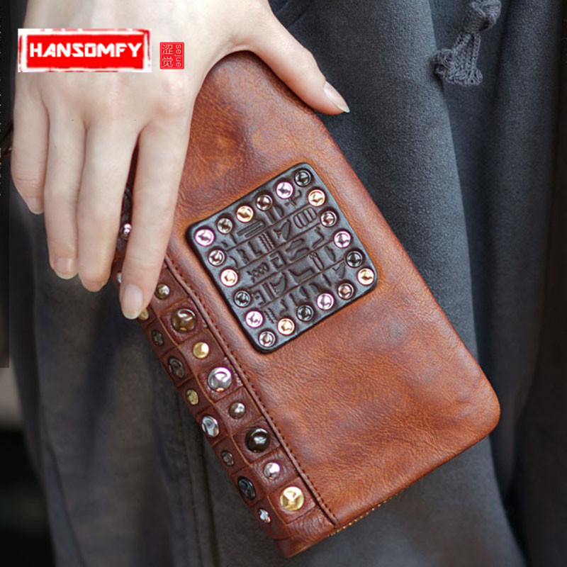 Men and Women Retro handmade leather rivet real Genuine leather Korean version long wallet old mobile