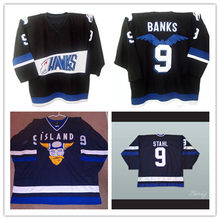 5dbe9f8ea Mighty Ducks Movie Jersey Hawks 9 Adam Banks 9 Iceland Gunnar Stahl  Stitched Embroidery Logos Throwback · 2 Colors Available