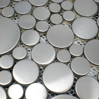 various different size round shape silver drawbench stainless steel metal mosaic tiles for kitchen backsplash bathroom shower