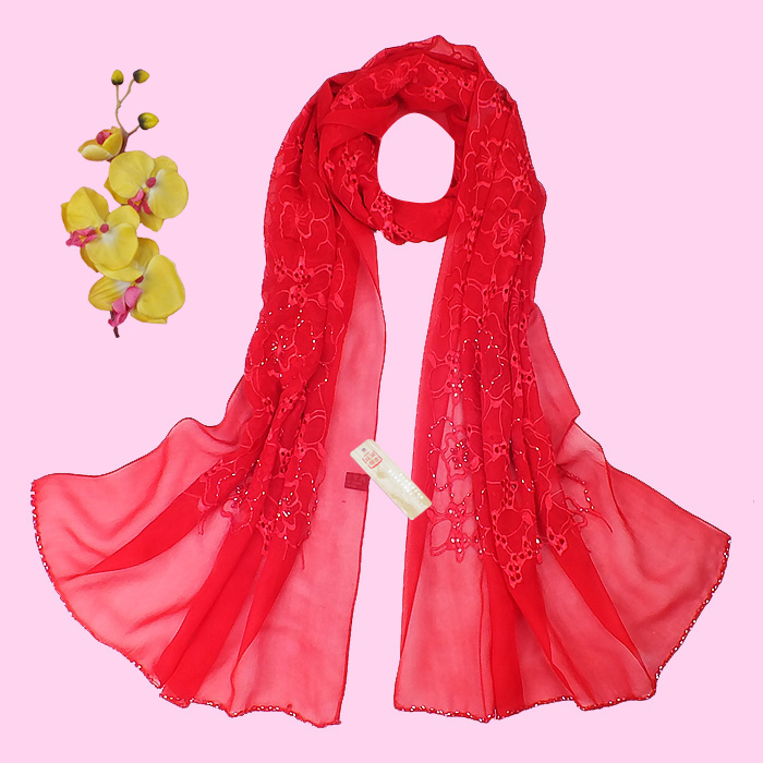 Red silk scarf spring and autumn female long design quality all-match cape 100% Pure silk  shawl and scarves pashminas