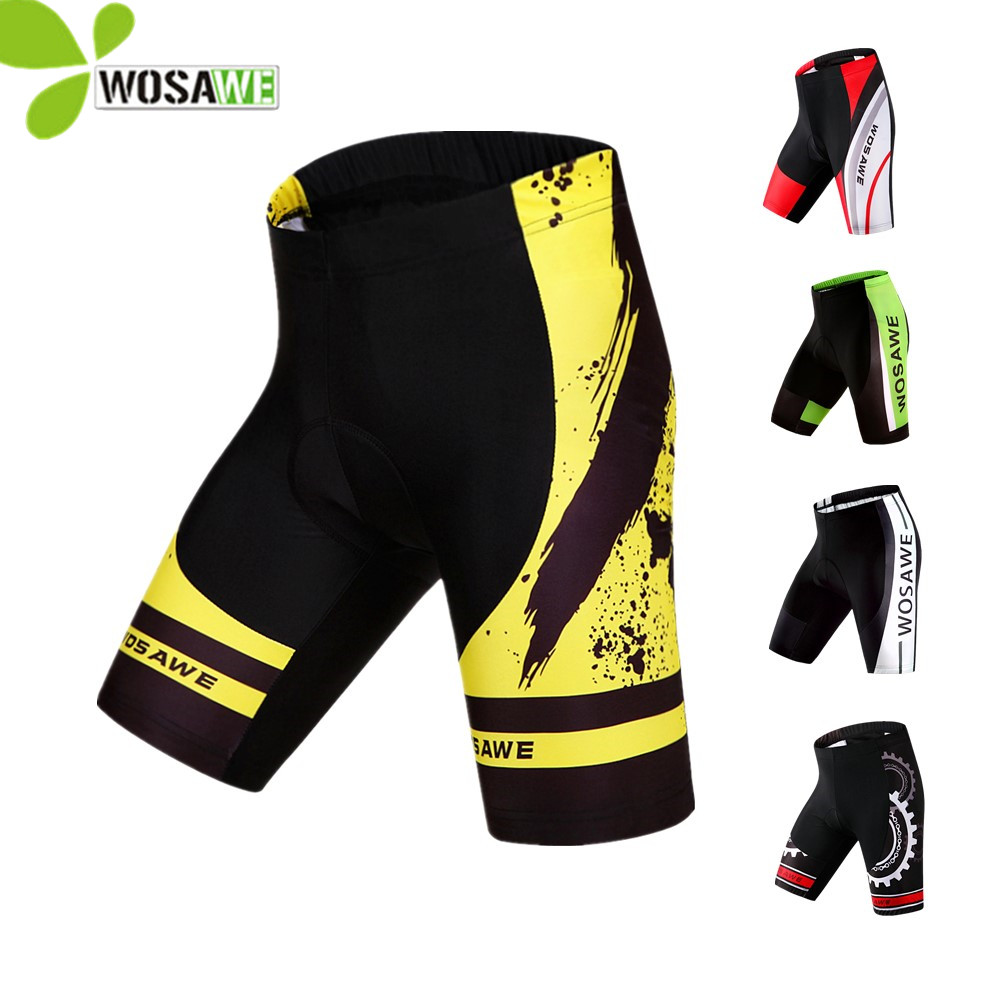 WOSAWE Men's 3D Gel Padded Cycling Shorts Ropa Maillot Ciclismo MTB Bicycle Bike Outdoor Sports Cycle Wear Downhill Clothing