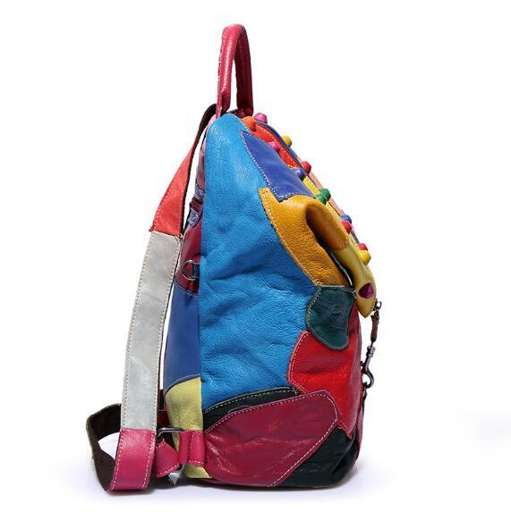 Brand new retro Genuine Leather Backpack Sheepskin lady Backpack Designer Travel Colorful Patchwork Luxury Shopper Bag Mochila 4