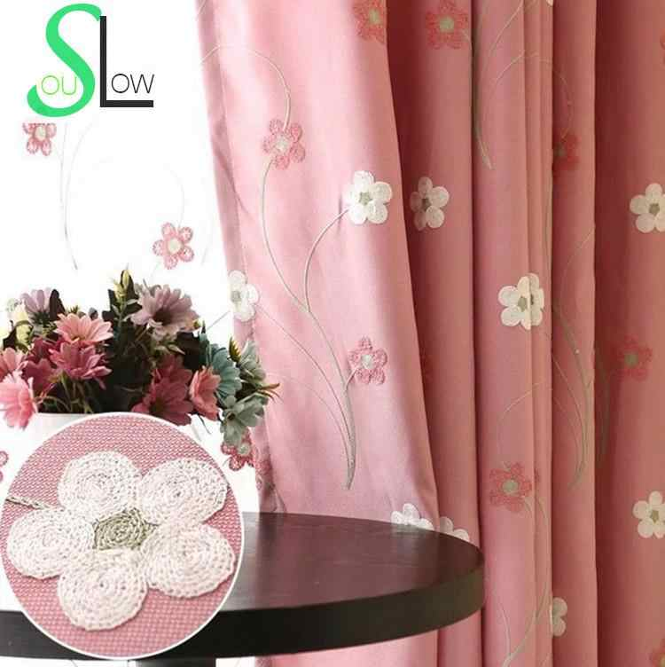 Slow Soul Pink Blue Embroidered Floral Cotton Pastoral Curtains Bedroom Children Room Girl Curtain For Living Kitchen 3d Tulle