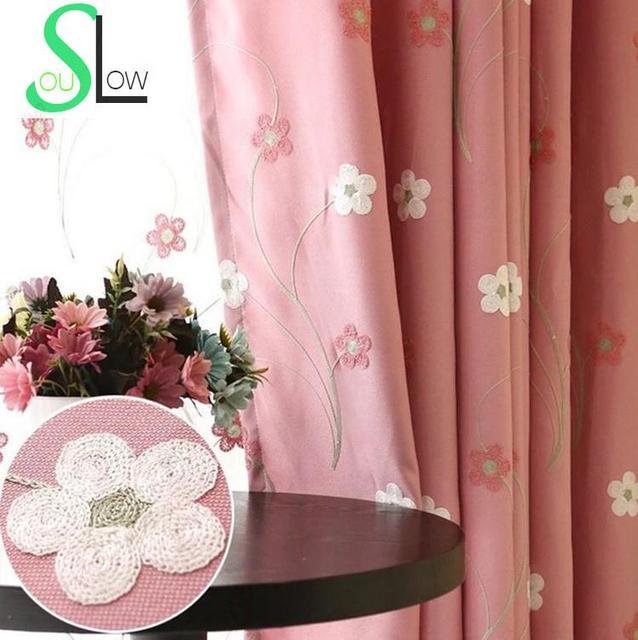 Lent Soul rose bleu brodé Floral coton pastorale rideaux chambre ...