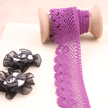 1 stoczni 3 8CM fioletowy czysty bawełniana nić koronki do dekoracji odzieży ręcznie robione dodatki do odzieży tanie i dobre opinie Pleciony 100 bawełna Inne
