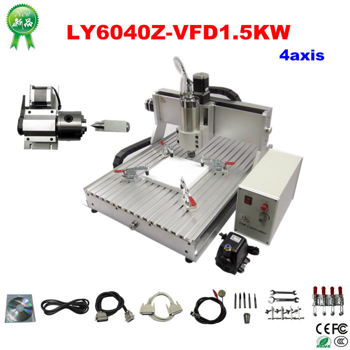 Assembled 4 axis cnc machine 6040 1500w spindle drilling milling cutting machine to EU country free duty
