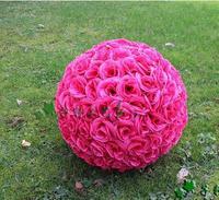 Hot 25 CM 10 Pouce Artificielle Blanc Rose De Fleurs De Soie Baisers Boules Suspendues Boule Pour Ornements De Noël De Noce Décorations