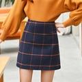 Otoño Nueva Corea Del Estilo de Muy Buen Gusto Grande Plaid Una Línea de Falda a cuadros por encima de la rodilla imperio de slim sweet otoño 2016 mujeres falda de invierno D2524
