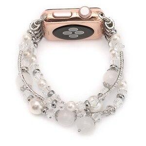 Image 3 - Bracelet Agate extensible pour femmes, pour Apple Bracelet de montre, pour iWatch Seies 1/2/3/4/5 44mm 42mm 40mm 38mm, boucle Bracelet de montre