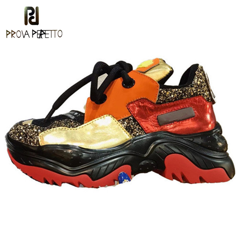 Prova Perfetto Ladies Sneakers Height Increasing Lace up Casual Shoes Woman Fashion Rouned Toe Sequins Mixed color Platform Shoe