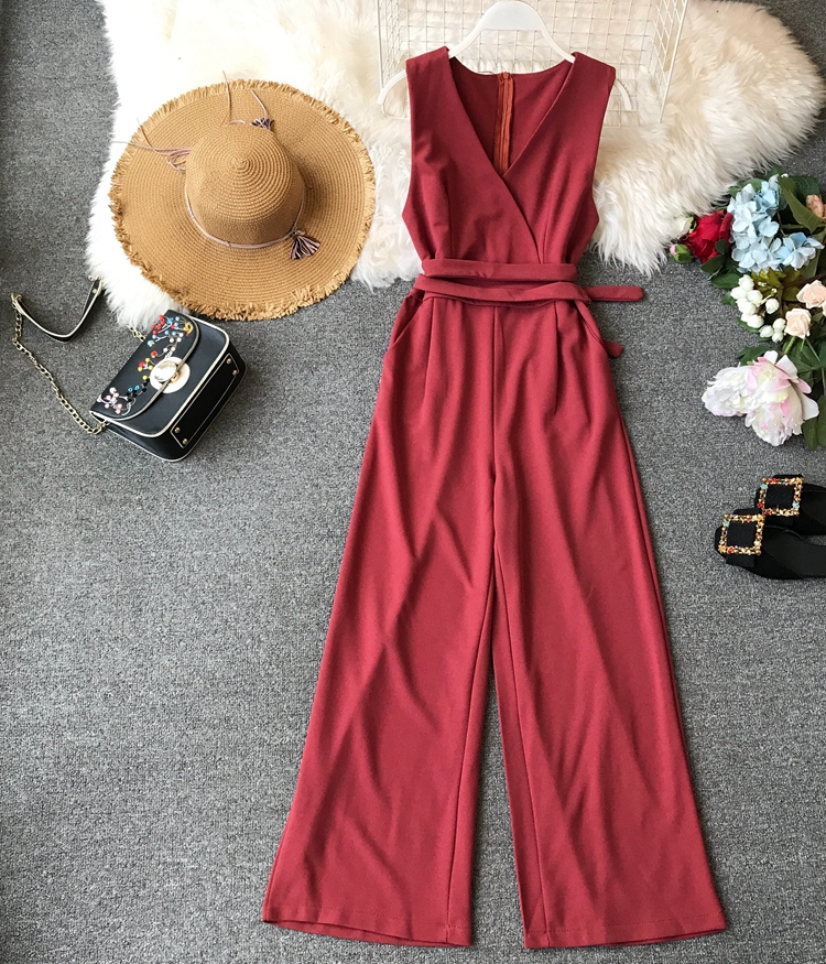 ALPHALMODA 2019 Spring Ladies Sleeveless Solid Jumpsuits V-neck High Waist Sashes Women Casual Wide Leg Rompers 44