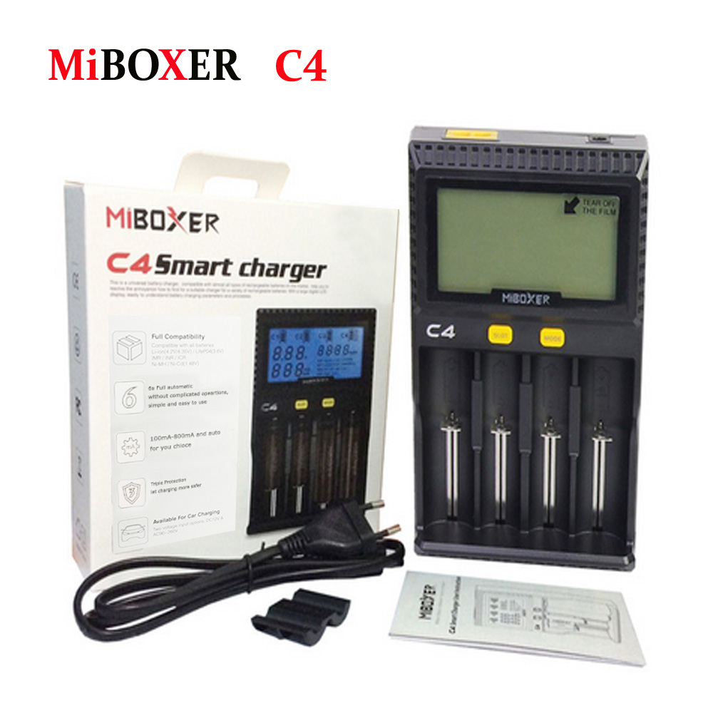 Original Miboxer C4 LCD Smart Battery Charger for Li-ion IMR INR ICR LiFePO4 18650 14500 26650 AAA Batteries 100-800 mAh