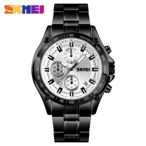 Image 2 - SKMEI קוורץ שעון גברים נירוסטה רצועה עמיד למים שעונים תאריך שעון איש אופנה מקרית ספורט צפה relogio masculino 1393