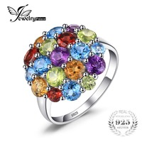 JewelryPalace Luxury 4 4ct Multicolor Natural Amethyst Citrine Garnet Peridot Sky Blue Topaz Cocktail Ring 925