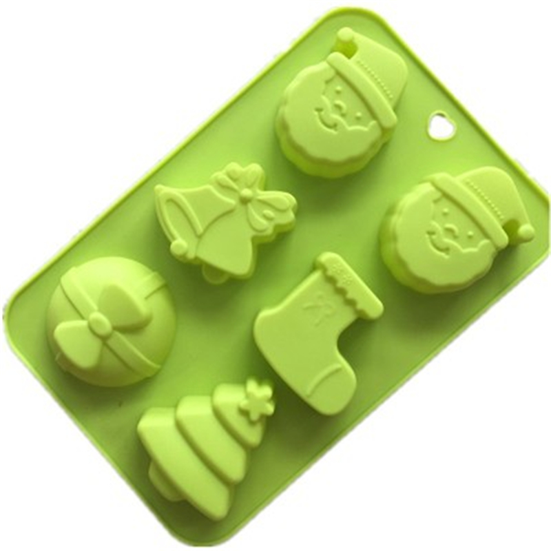 Silicone Mold 6 Santa Claus Christmas Gifts BellSocks Tree Cartoon Shape DIY Soap Cake Mold High Quality Material Baking Tool