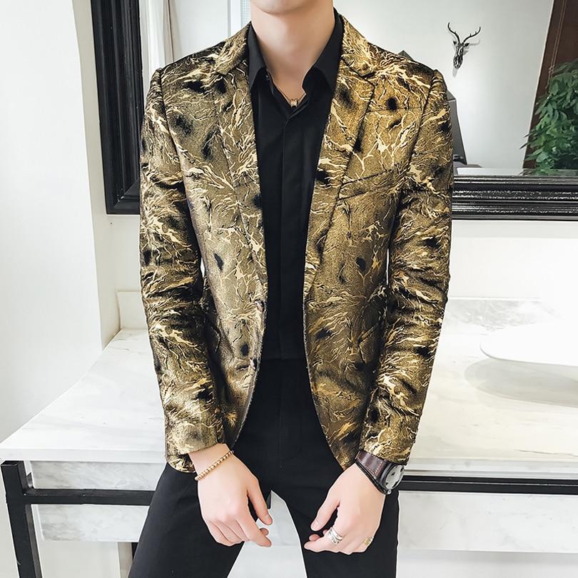 Vaguelette Стильный золотой и черный блейзер с узором пейсли для мужчин Мода Slim Fit Мужские спортивные пиджаки Свадебная сценическая одежда вече... - 2