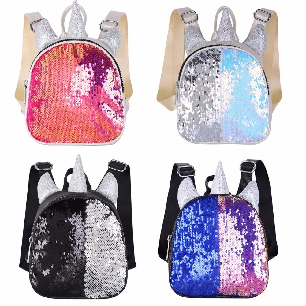 Women Girls Sparkly Sequins Bag Cute Cartoon Animal Horn&Ears Mini Backpack Little Daypack Shoulder Travel Bag Schoolbag Satchel
