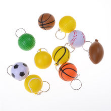 1Pc Soccer Volleyball Basketball Tennis Keychain keychain key ring pendant creative toy Kids collection Model Figure(China)