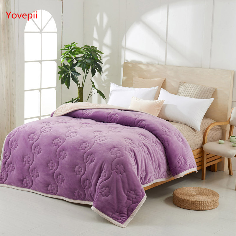 Yovepii утепленные Одеяло Зимние флисовые покрывало 3 слоя фланелевый Утешитель 3.5cm толстые покрывало теплые постельные принадлежности 1 шт. лоскутное одеяло