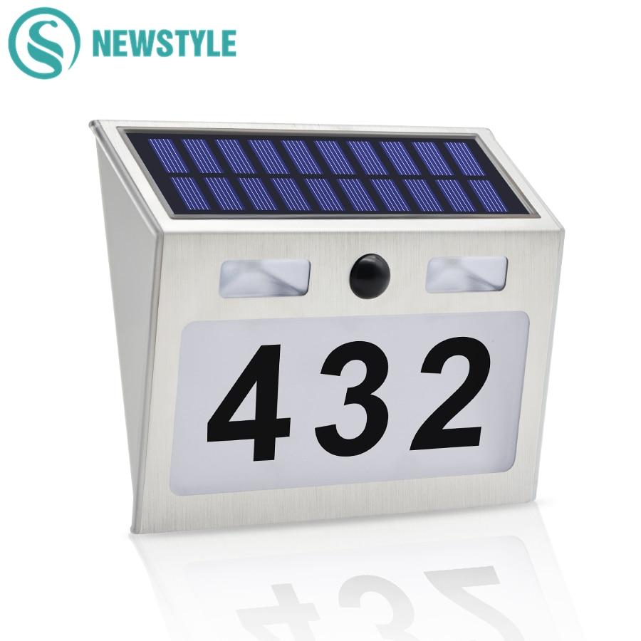 Solar LED House Number Lamp 5 LEDs PIR Motion Sensor Waterproof Outdoor Doorplate Light Garden Door Decoration Lighting