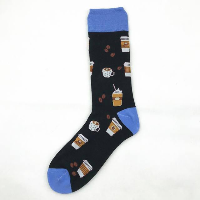PEONFLY Large Size Long Cotton Men's Socks Funny Hamburger Pineapple Poached Egg Novelty Cool Skate Sock for Men
