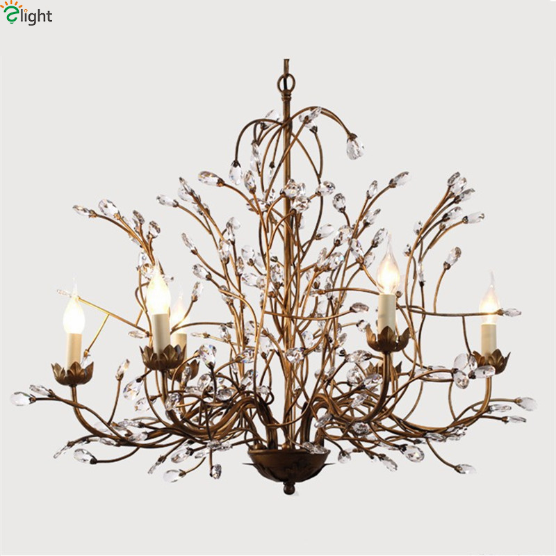American Retro Iron Branch Led Pendant Chandeliers Lustre Crystal Dining Room Led Chandelier Lighting Led Hanging Lights Fixture