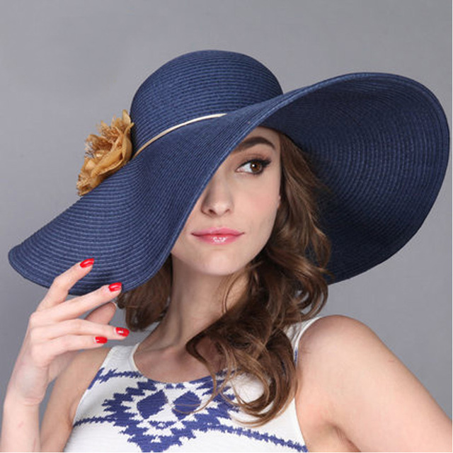 FS Fashion 2018 Sun Hat For Womens Beach Summer Flower Straw Hats Large  Wide Brim Travel Outdoor Foldable Cap Navy Blue Natural c34bcbffaf3
