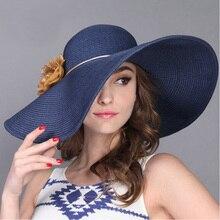 FS moda 2018 Sun Hat para mujer playa Flor del verano sombreros de paja  borde ancho 74ce04df080