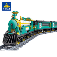 KAZI Classical Australia Puffing Billy Steam Train Model With Track Building Blocks Children Educational Learning Toys