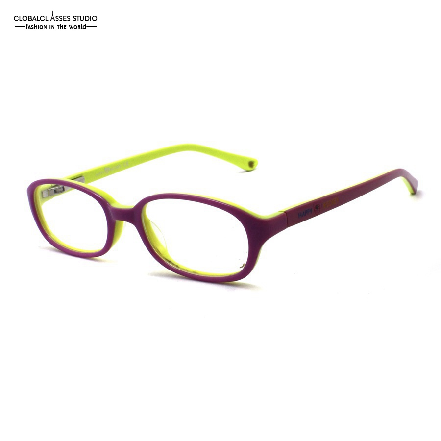 60649d12198 Cute Oval Lens Acetate Kids  Glasses Frame Girls Pink on Green Print Temple Spring  Hinge Myopia Optical Eyewears 8001 C4-in Eyewear Frames from Apparel ...