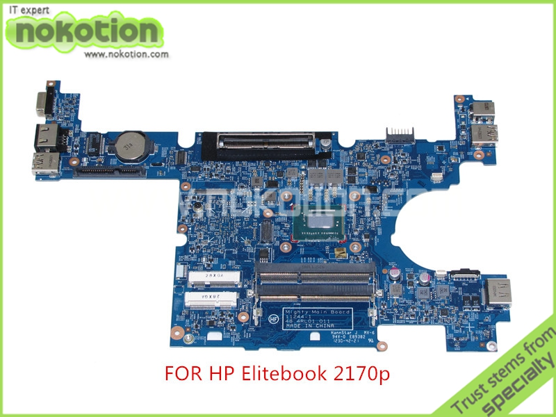 NOKOTION Latop motherboard for hp Elite Book 2170P Mighty Main Board 11244-1 48.4RL01.011 SR0N9 Core i3-3217U nokotion sps v000198120 for toshiba satellite a500 a505 motherboard intel gm45 ddr2 6050a2323101 mb a01