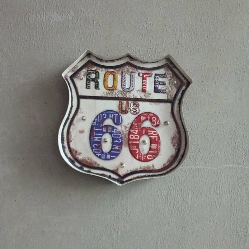 Route 66 enseigne au néon LED décor à la maison Plaque fer signe Plaque métal Vintage Pub Bar mur Art décoration