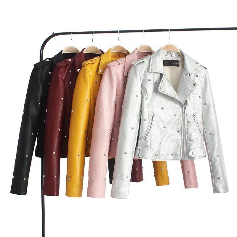 Women Rivet Leather Jacket Fashion Slim Turn Collar Moto & Biker Leather Coat Outwear 2018 Autumn New S M L XL