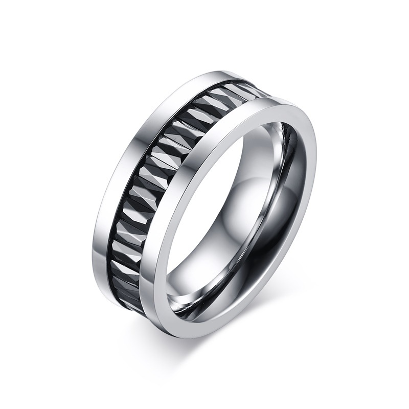 2017 new Mens Black Cubic Zircon rings Titanium steel Ring men ring punk style fashion jewelry anel anillos bague wholesale