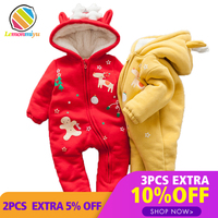 Christmas Dear Party baby Boys Rompers Winter Warm Cotton Padded Jacket for Girls Cute Fur Velvet Hooded Coats Jumpsuits Clothes