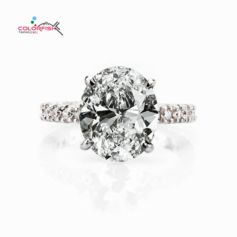 COLORFISH Oval Cut 5ct Solitaire Engagement Ring Luxury Full Prongs Set Wedding Band Jewelry 925 Sterling Silver Women Rings недорого