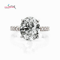 COLORFISH Full Prongs Set Round Oval Cut 5 Carat Solitaire Engagement Ring Luxury 925 Sterling Silver