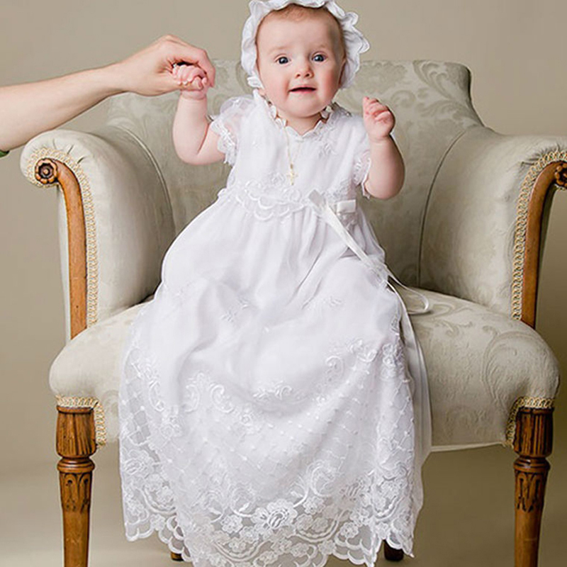 Summer style baby girls dress and new ankle-length white baby girl christening gowns vestidos with hat baby christening gown to the length of the new white summer style baby girls dress baby girl christening gowns vestidos