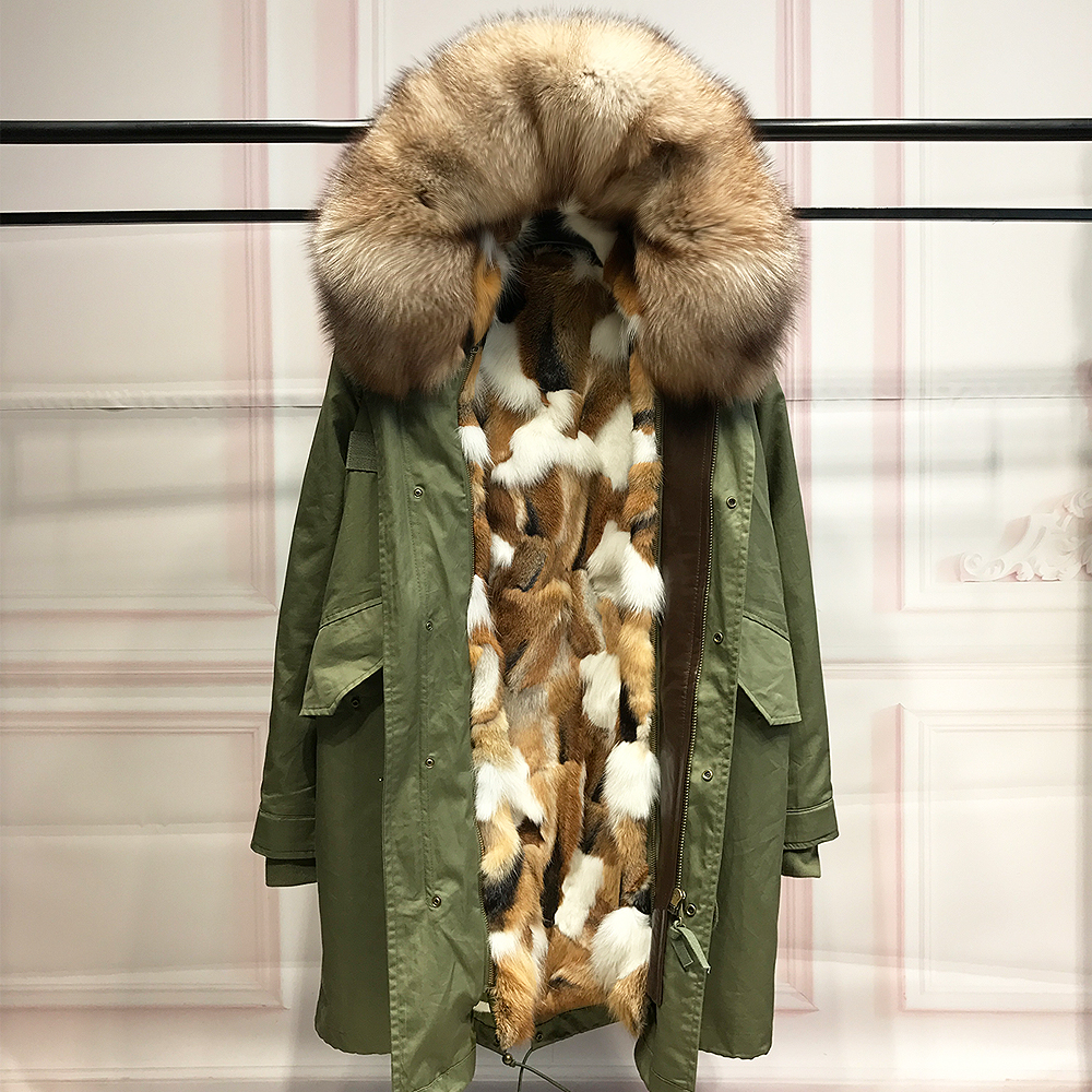 Real coffee fox fur liner parka natural raccoon fur collar hood jacket women fur coats for winter woman long army green parkas real wolf hair fox fur liner parka winter jacket women long parkas coat raccoon fur collar hooded long sleeves