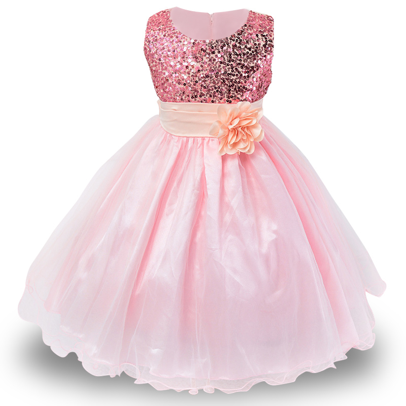 3-14yrs-Hot-Selling-Baby-Girls-Flower-sequins-Dress-High-quality-Party-Princess-Dress-Children-kids
