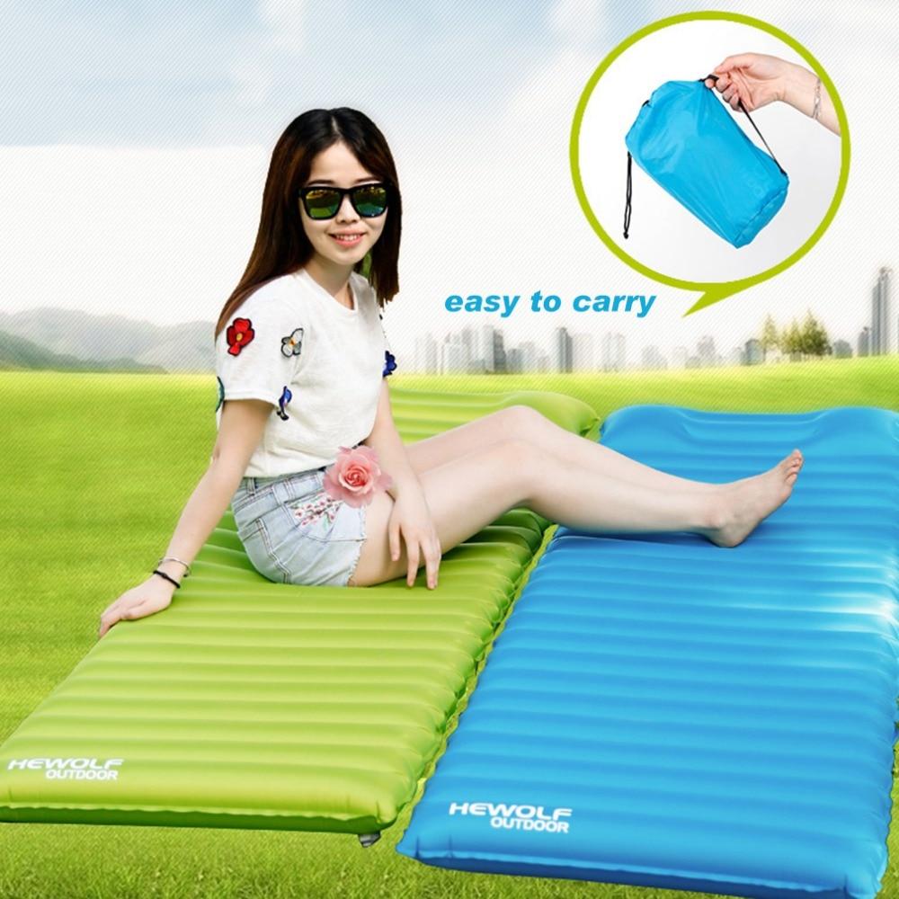 240T Ultralight Portable Air Inflatable Mat Moistureproof Waterproof Camping Mat Outdoor Cushion Mattress Sleeping Pad Free Ship
